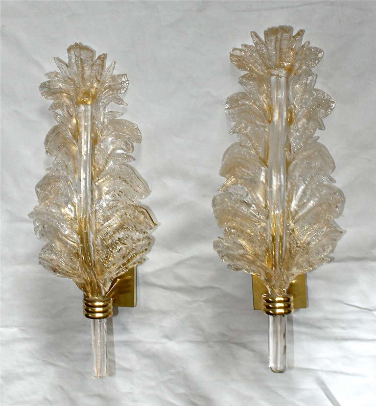 Italian Glass Wall Sconces : Pair Barovier Murano Italian Glass Rugiadoso Leaf Wall Sconces at 1stdibs