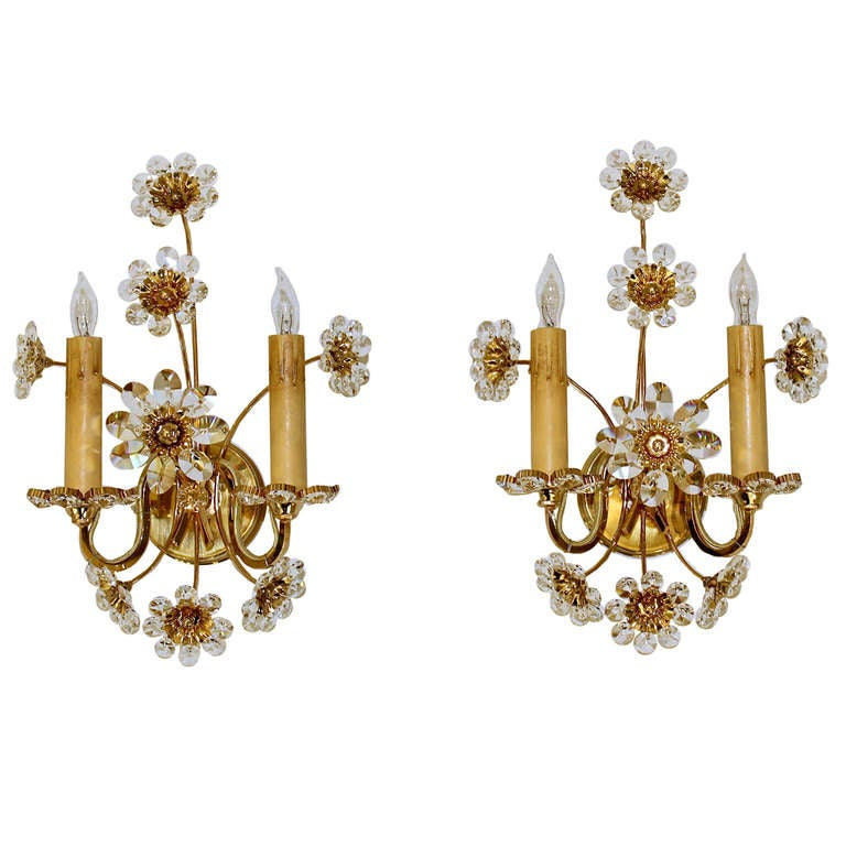 Pair Crystal Swarovski Floral Gold Plated Wall Sconces at 1stdibs
