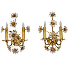 Pair Crystal Floral Gold Plated Wall Sconces