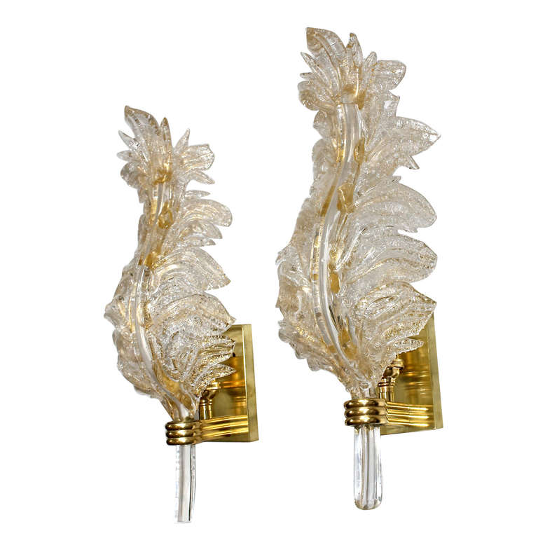 Wall Sconces With Leaves : Pair Barovier Murano Italian Glass Rugiadoso Leaf Wall Sconces at 1stdibs