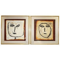 Pair of Large Jamali Abstract Face Oil on Cork Paintings