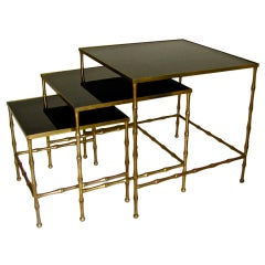 Trio Bagues French Bronze Faux Bamboo Nesting Tables