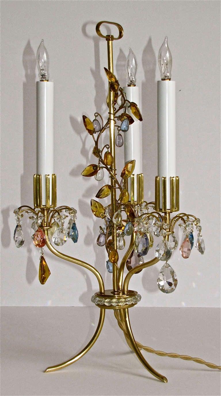 Rare Pair Lobmeyr Haerdtl Crystal Brass Table Lamps For