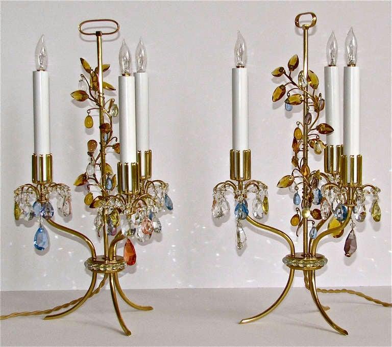 Crystal Chandelier Table Lamps For Sale: Rare Pair Lobmeyr Haerdtl Crystal Brass Table Lamps For