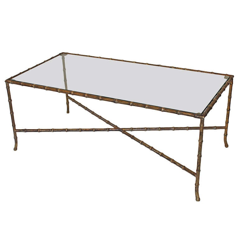 French Bagues Style Bronze Faux Bamboo Coffee Cocktail Table