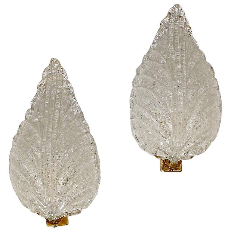 Pair Barovier Murano Glass Rugiadoso Leaf Wall Sconces