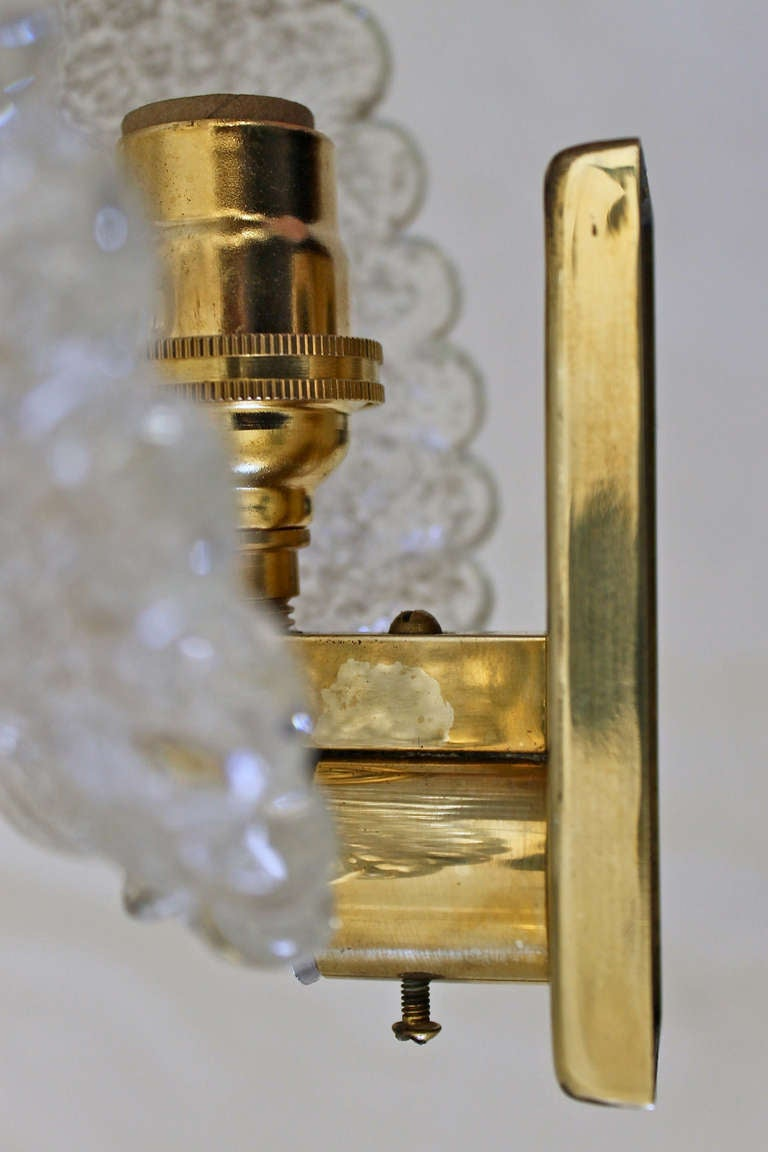 Pair Barovier Murano Glass Rugiadoso Leaf Wall Sconces 3