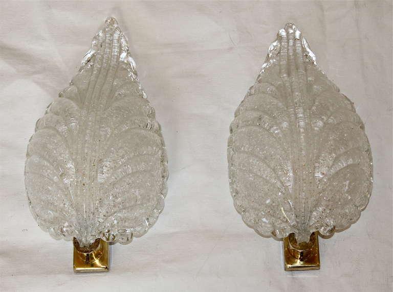 Mid-20th Century Pair Barovier Murano Glass Rugiadoso Leaf Wall Sconces