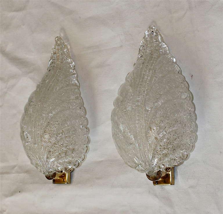 Pair Barovier Murano Glass Rugiadoso Leaf Wall Sconces 4