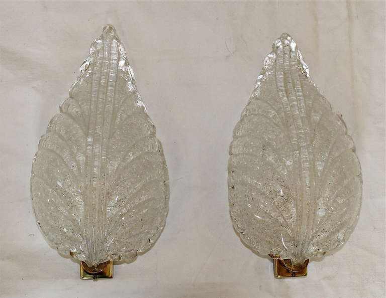 Italian Pair Barovier Murano Glass Rugiadoso Leaf Wall Sconces