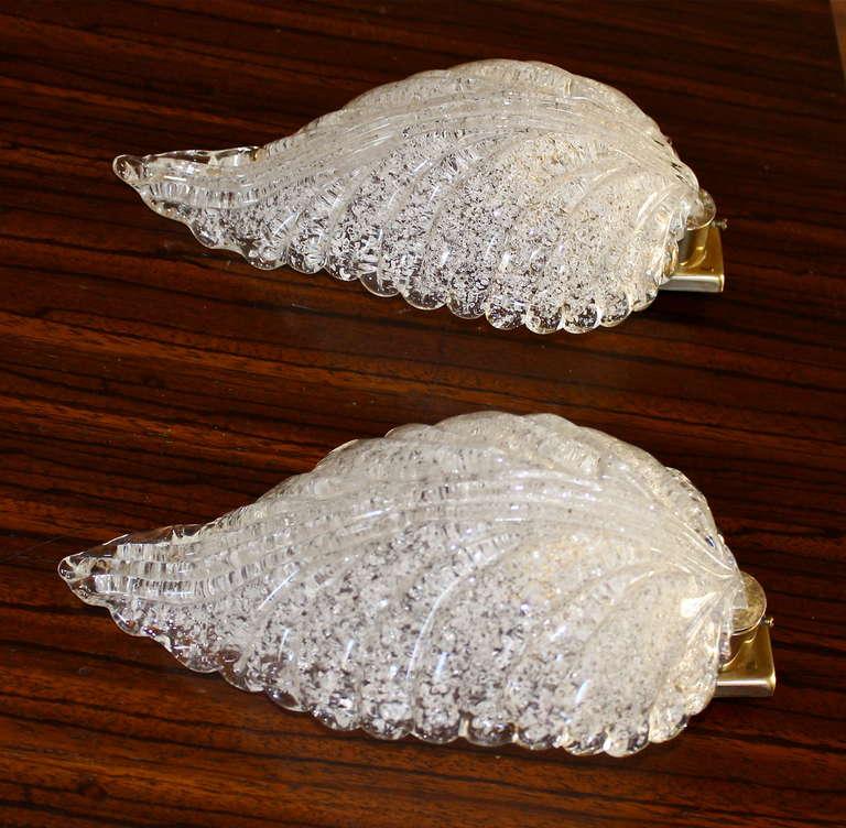 Pair Barovier Murano Glass Rugiadoso Leaf Wall Sconces 1