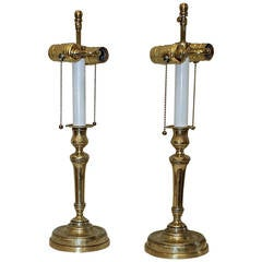 Pair of French Empire Brass Candlestick Lamps