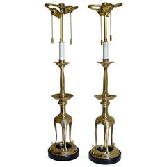 Pair of Brass, Japanese Candlestick Lamps