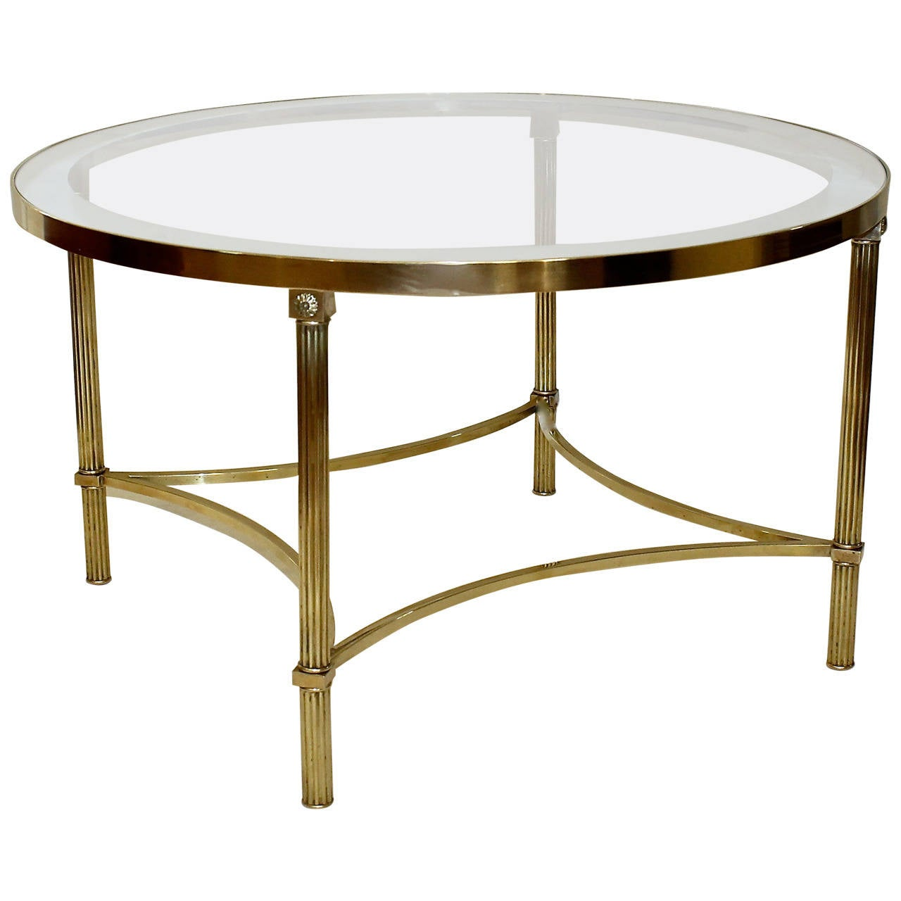 Jansen style round brass coffee or cocktail table at 1stdibs Brass round coffee table