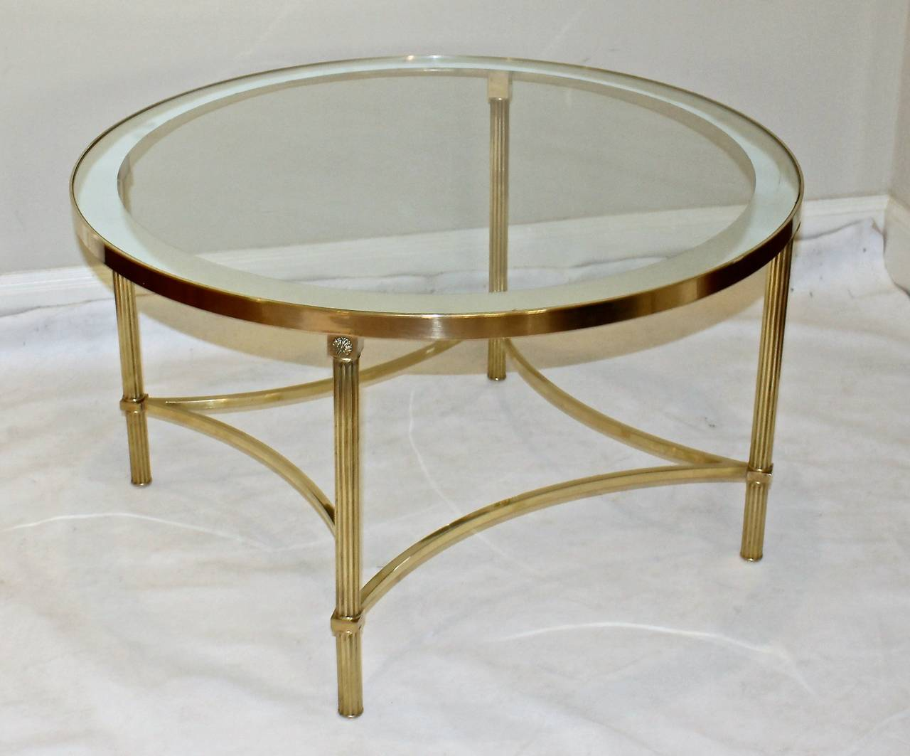 Jansen Style Round Brass Coffee Or Cocktail Table At 1stdibs