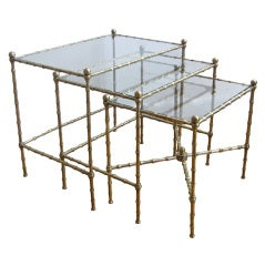 Trio Bagues French Faux Bamboo Brass Nesting Tables