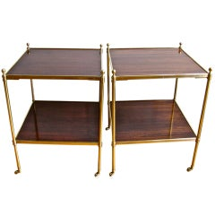 Pair Brass Mahogany 2 Tier End Side Tables