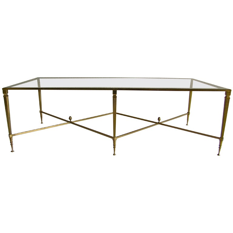 Large French Coffee Table: Large French Maison Jansen Brass Cocktail Coffee Table At