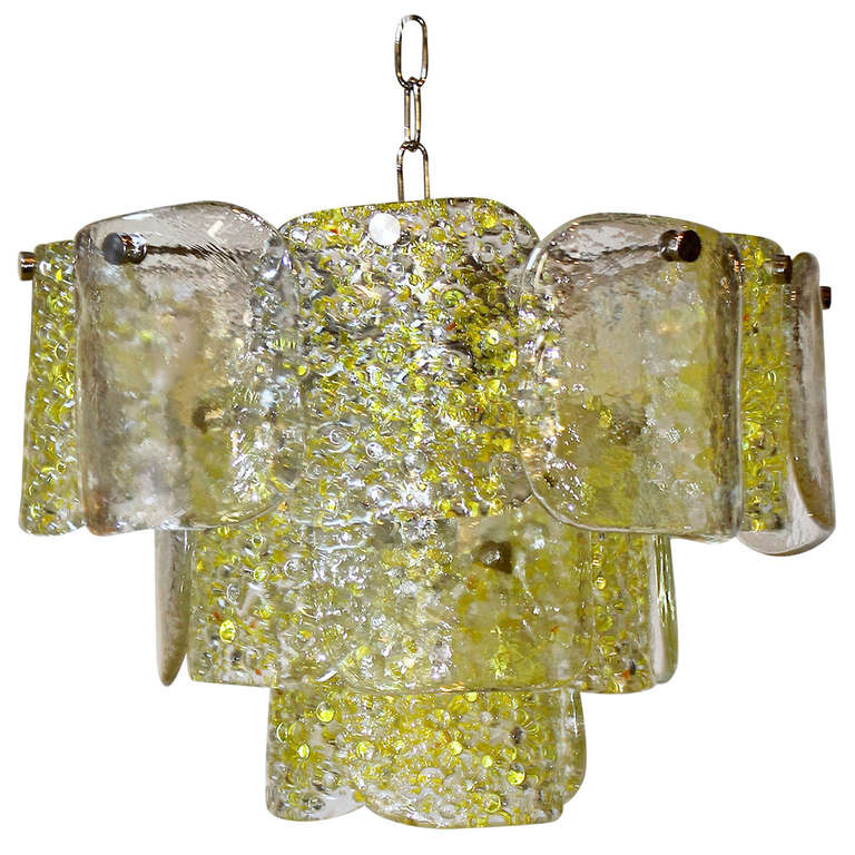Camer murano yellow and clear textured panel glass chandelier at 1stdibs camer murano yellow and clear textured panel glass chandelier for sale aloadofball Gallery