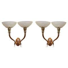 Pair of Venini Murano Deco Mezza Filigrana Glass Sconces