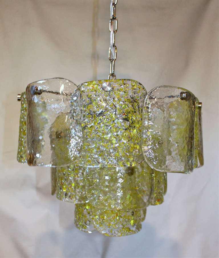 Camer Murano Yellow and Clear Textured Panel Glass Chandelier at 1stdibs