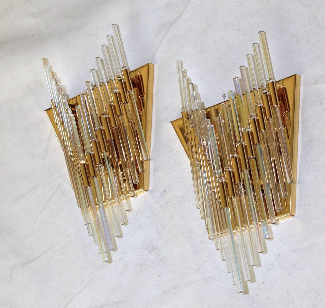 Glass Rod Wall Sconces : Sciolari Italian Iridescent Glass Rod Wall Sconces at 1stdibs