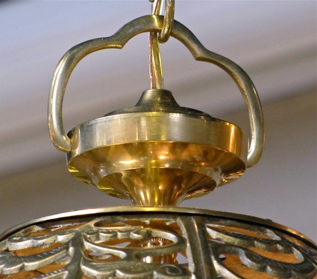 Trio Large Pierced Brass Asian Ceiling Light Pendants 10