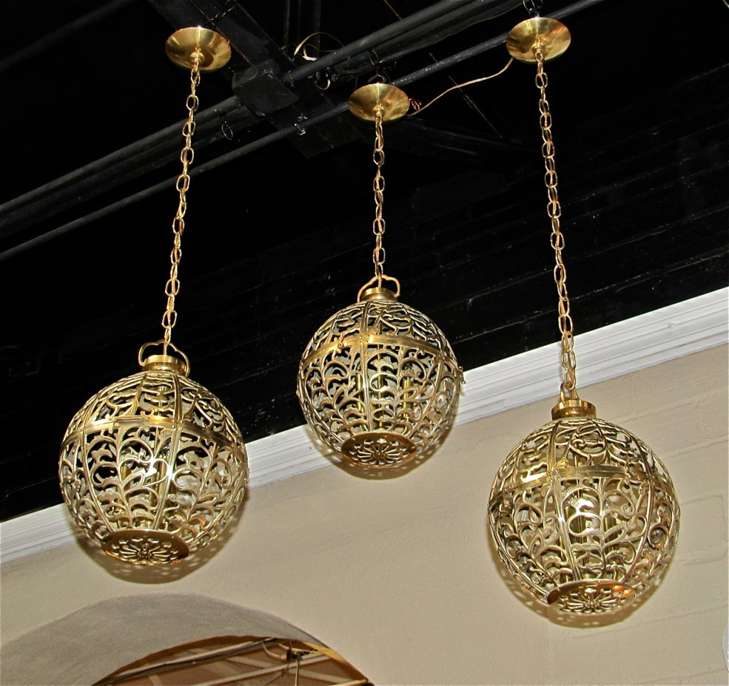 Ceiling Light Japanese: Trio Large Pierced Brass Asian Ceiling Light Pendants At