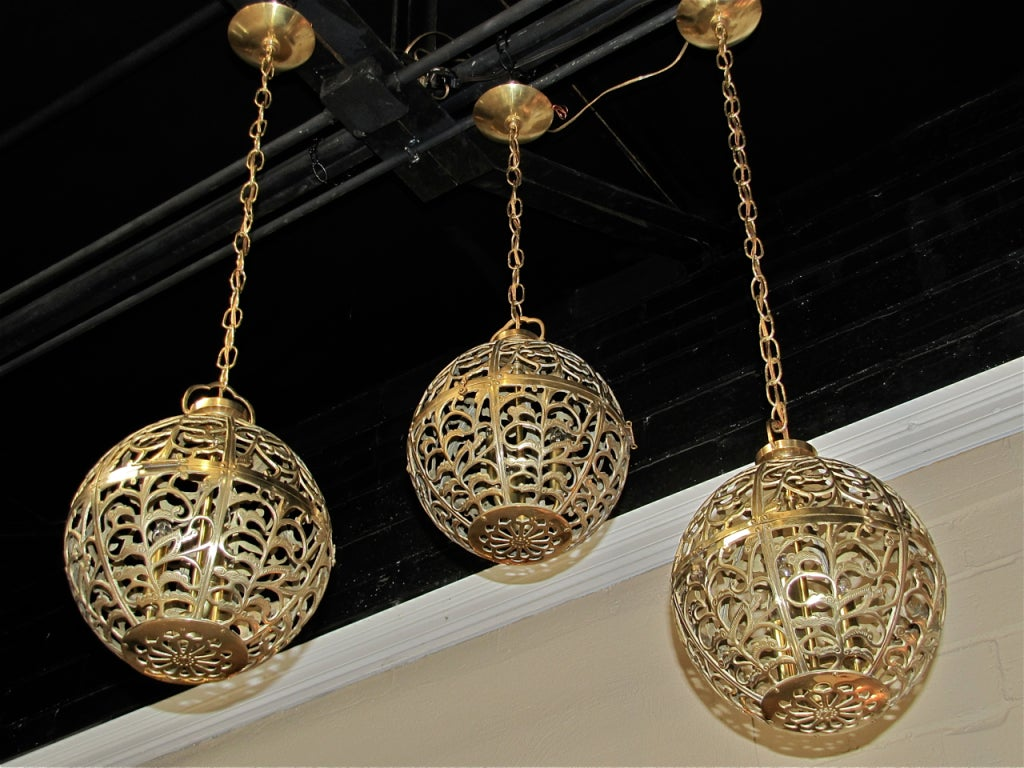 Mid-20th Century Trio Large Pierced Brass Asian Ceiling Light Pendants For Sale