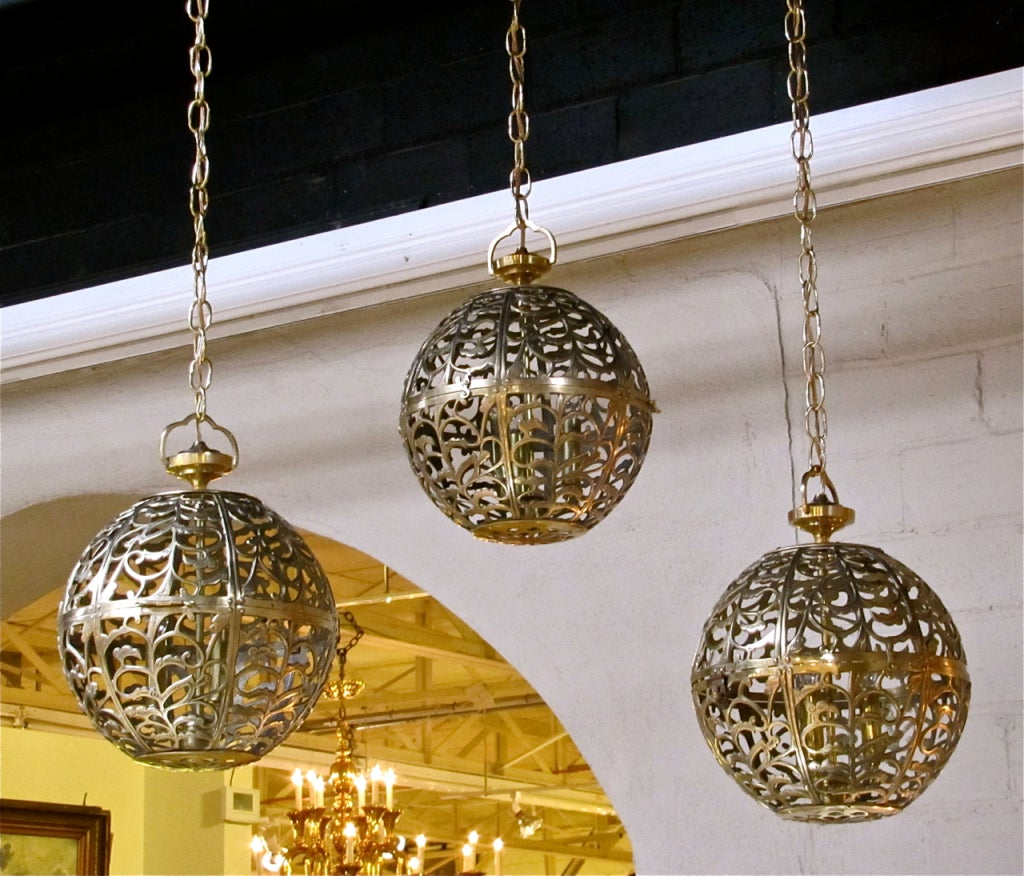 Trio Large Pierced Brass Asian Ceiling Light Pendants 6