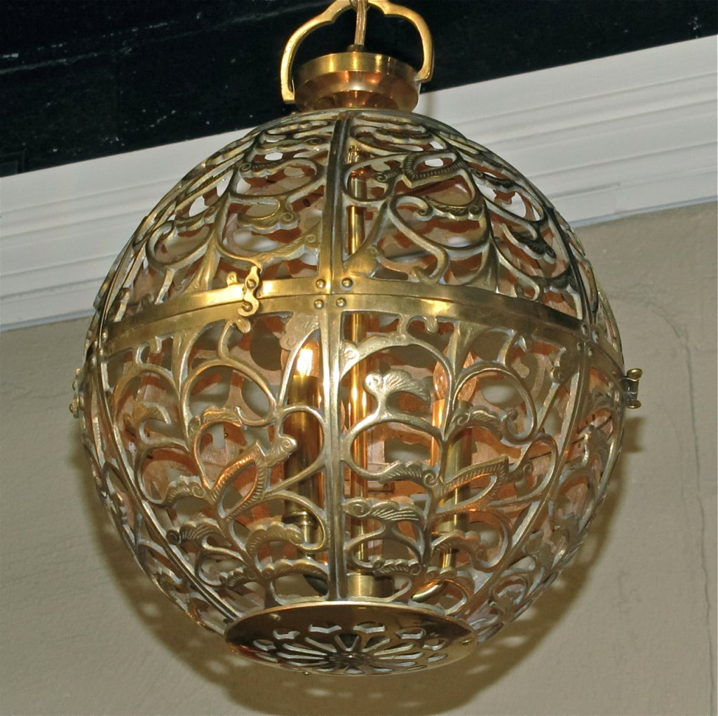 Trio Large Pierced Brass Asian Ceiling Light Pendants 7