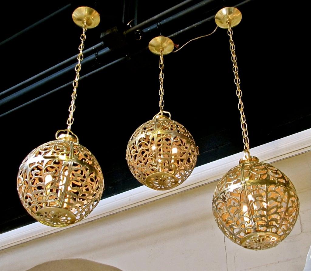 Trio Large Pierced Brass Asian Ceiling Light Pendants 8