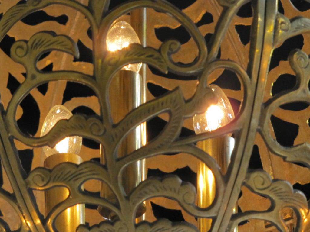 Trio Large Pierced Brass Asian Ceiling Light Pendants 9