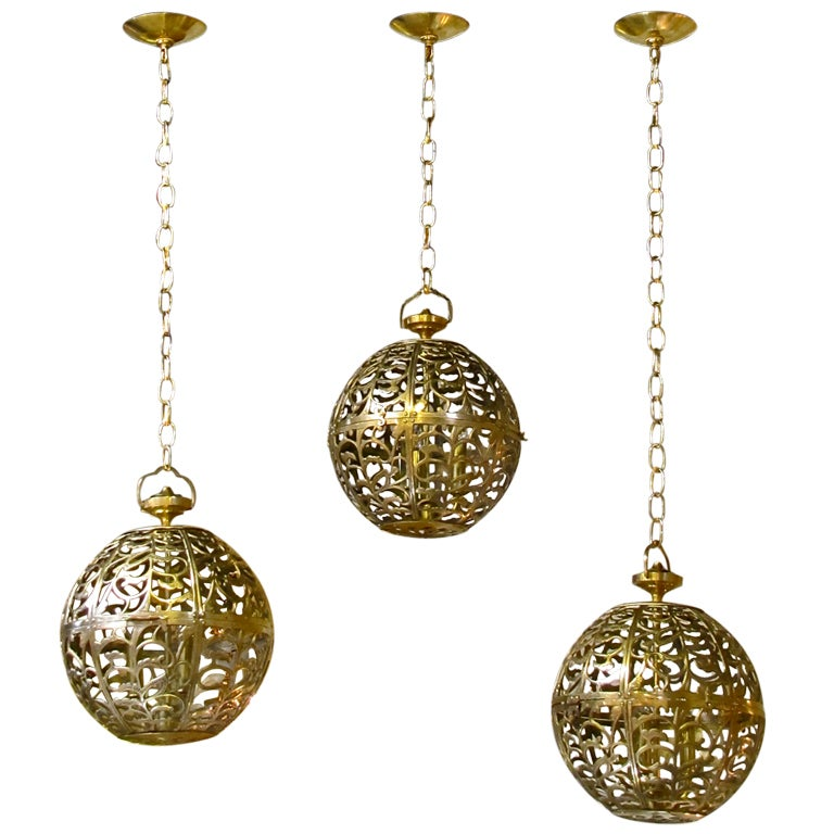 Trio Large Pierced Brass Asian Ceiling Light Pendants 1