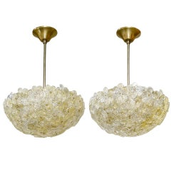 Pair of Barovier Murano Glass Floral Light Ceiling Pendants