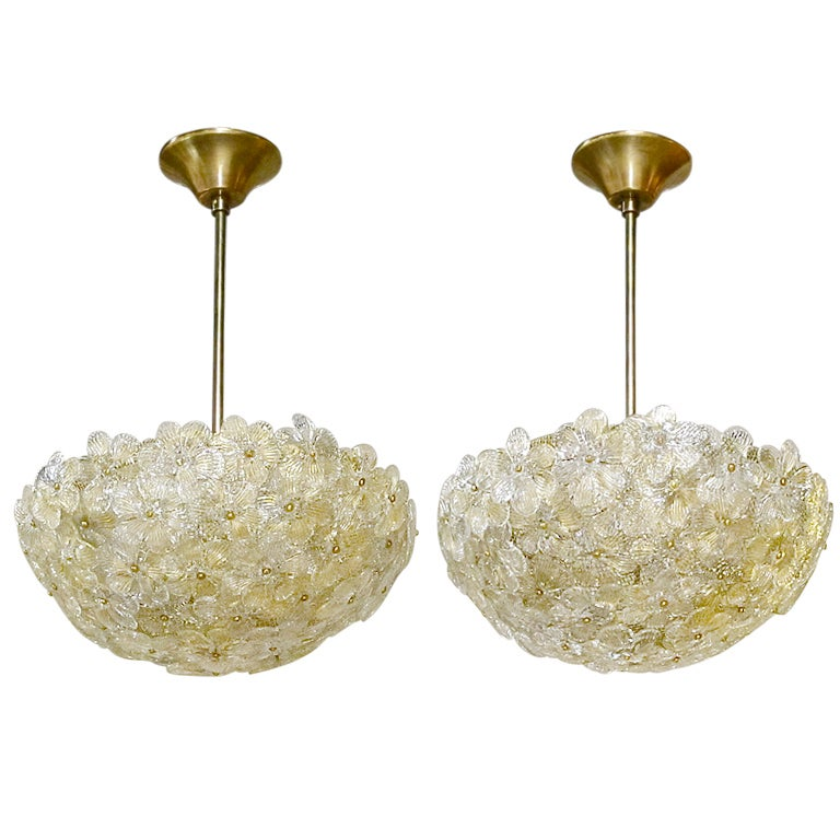pair of barovier murano glass floral light ceiling pendants. Black Bedroom Furniture Sets. Home Design Ideas