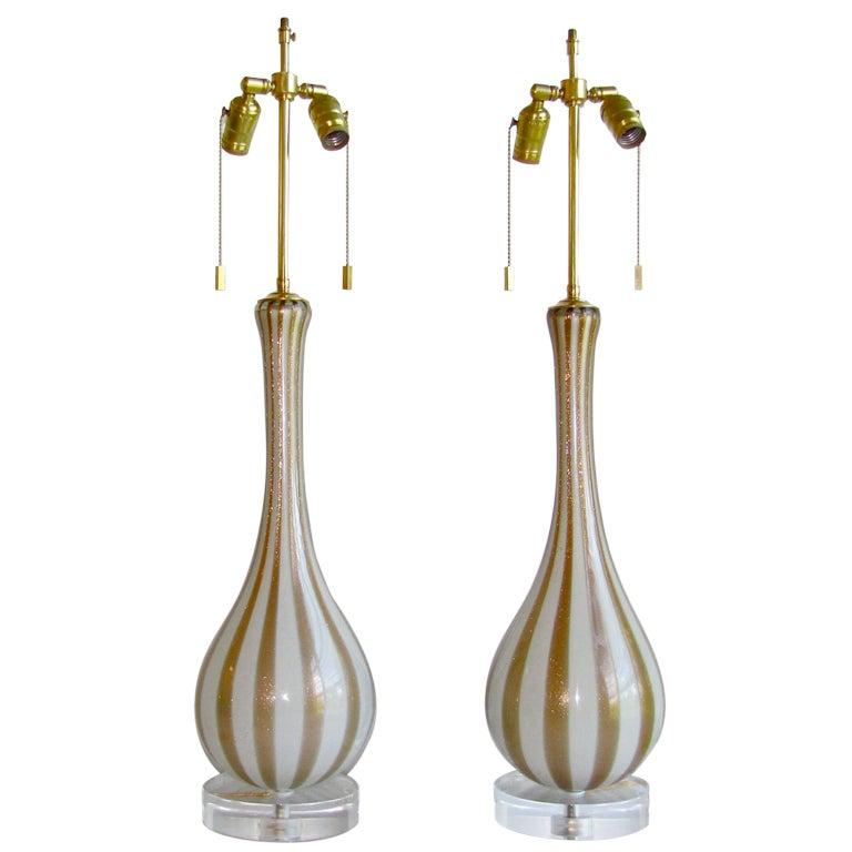 Pair of Rare Circus Stripe Barbini Murano Italian Glass Lamps