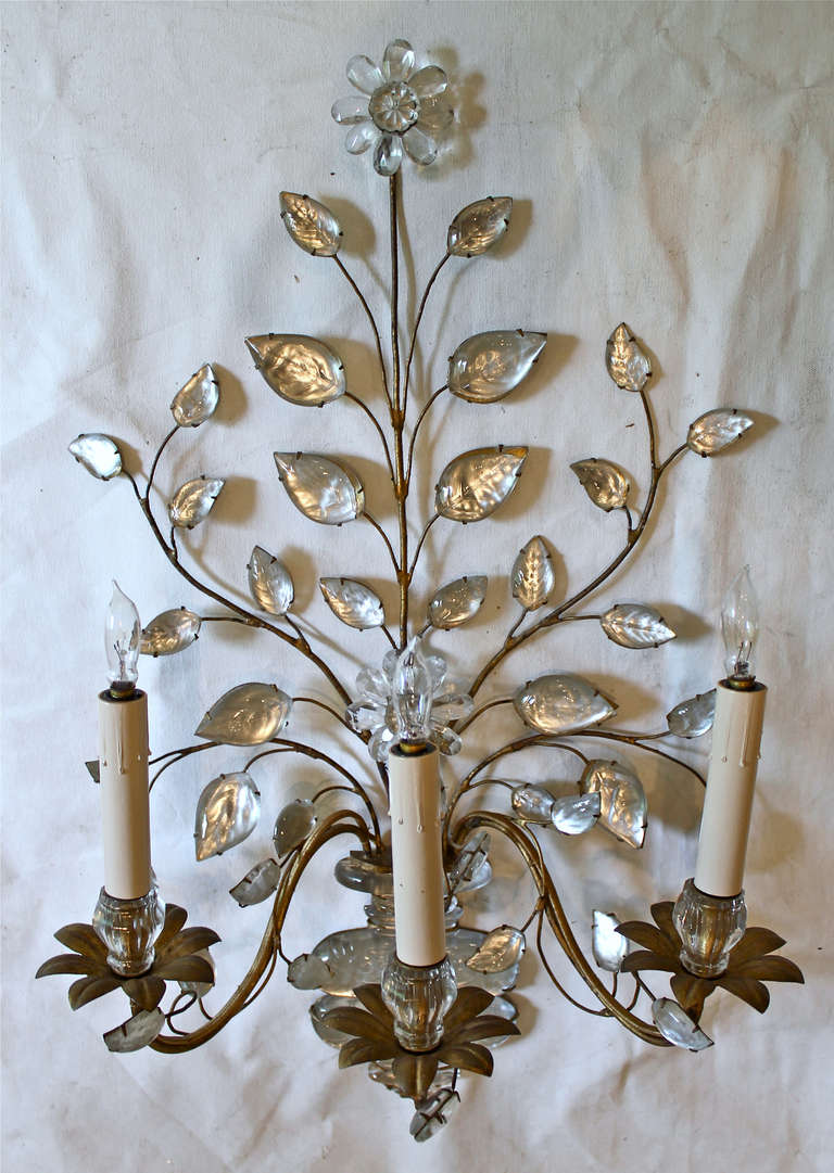 Large Floral Wall Sconces : Single Large Bagues French Floral Urn Gilt Wall Sconce at 1stdibs