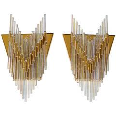 Sciolari Italian Iridescent Glass Rod Wall Sconces