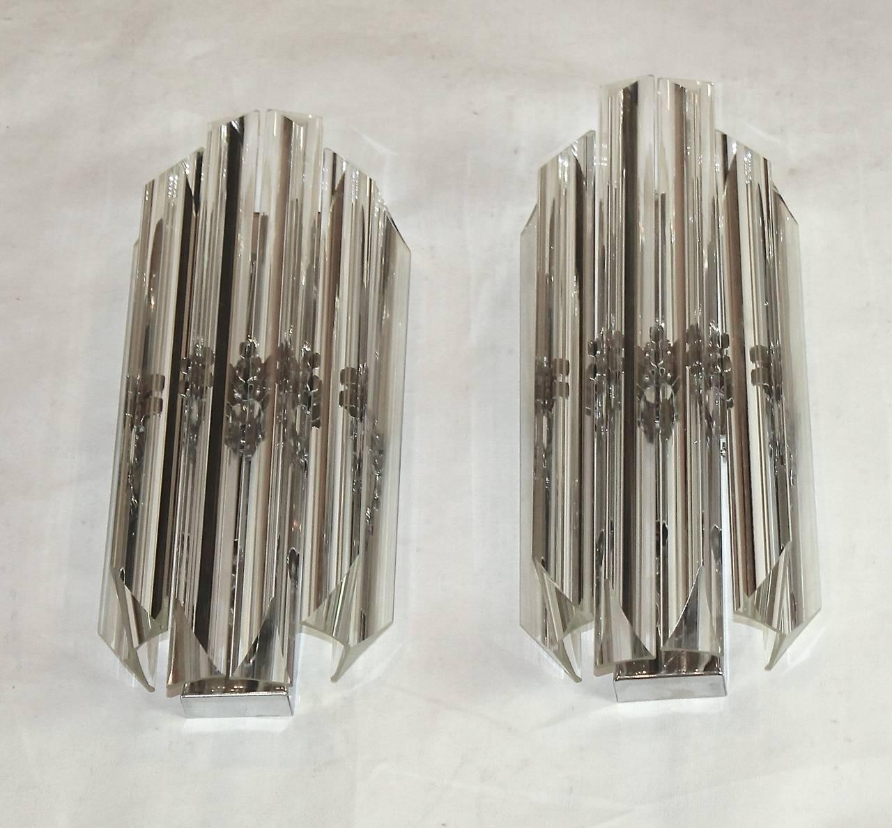Pair of Italian Crystal, Venini Style Triedri Wall Sconces at 1stdibs
