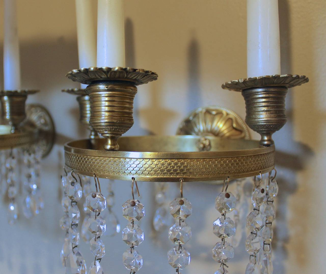 Brass Crystal Wall Sconces : Pair of French Directoire Brass and Crystal Wall Sconces For Sale at 1stdibs