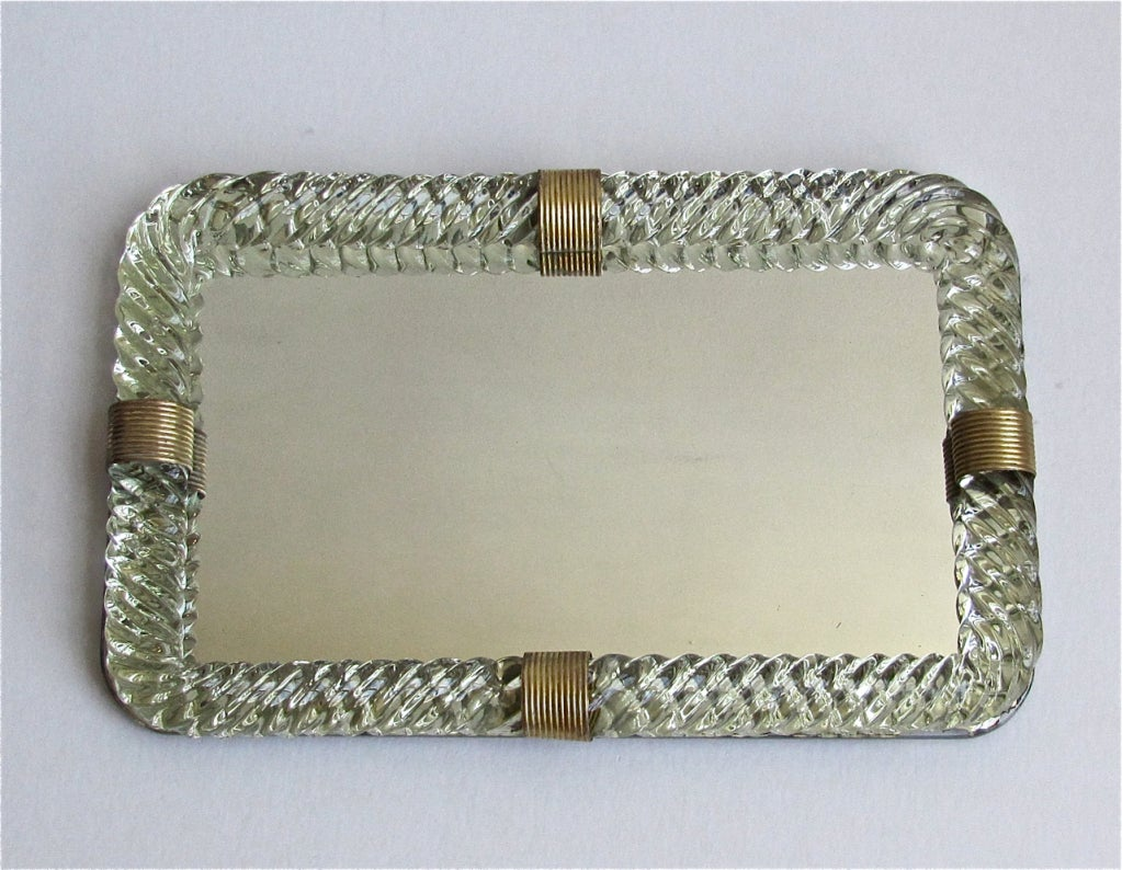 Venini Style Murano Twisted Glass Rope Vanity Tray At 1stdibs