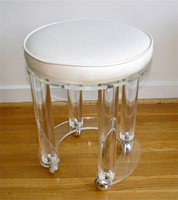 acrylic vanity bench | Acrylic Round Vanity Stool White Faux Leather at 1stdibs