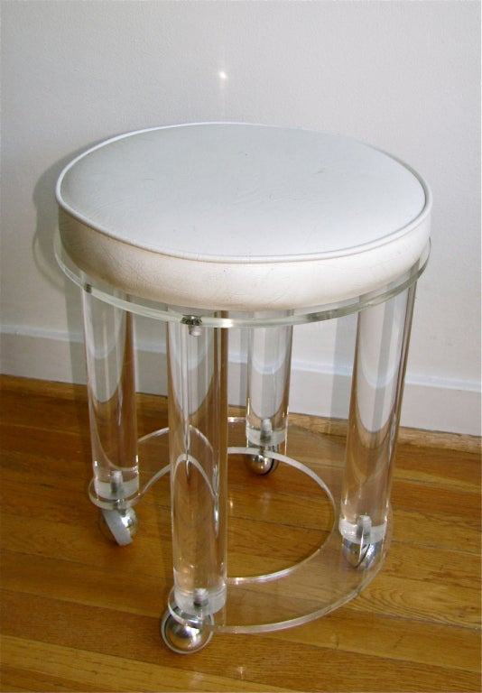 Acrylic Round Vanity Stool White Faux Leather At 1stdibs