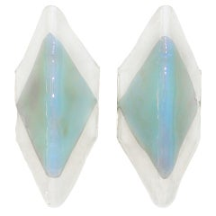 Pair Mazzega Murano Opalescent Glass Wall Sconces