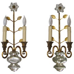 Pair Bagues French Crystal Gilt Wall Sconces