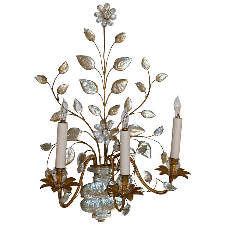 Large Flower Wall Sconces : Single Large Bagues French Floral Urn Gilt Wall Sconce at 1stdibs