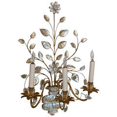 Single Large Bagues French Floral Urn Gilt Wall Sconce