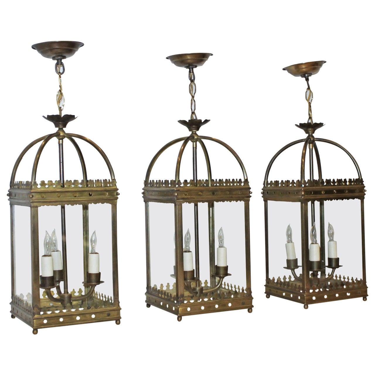 gothic lantern lighting. Set Of Three Brass, English Gothic Revival Style Hall Lanterns Or Pendants For Sale Lantern Lighting