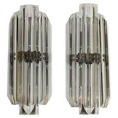 Pair of Italian Crystal, Venini Style Triedri Wall Sconces